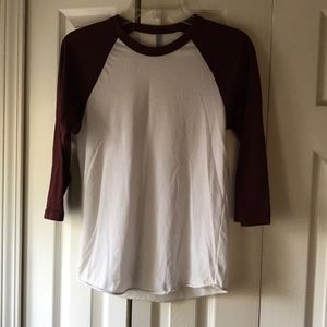 American Apparel 50/50 shirt baseball tee xs